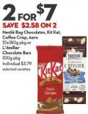 Nestlé Bag Chocolates - Kit Kat - Coffee Crisp - Aero  10x180g Pkg or  L'atellier  Chocolate Bars  100g Pkg