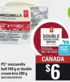 PC Mozzarella Ball 340 G Or Double Cream Brie 200 G