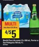 Nestlé Pure Life Water - 12 X 500 Ml - Perrier Or San Pellegrino - 750 Ml/1 L
