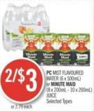 PC Mist Flavoured Water (6 X 500ml) or Minute Maid (8 X 200ml - 10 X 200ml) Juice
