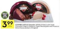 Coombe Castle Chocolot - Wensleydale With Triple Chocolate Fudge or Rasberry Tipple Wensleydale With Prosecco Wine Cheese Product of England