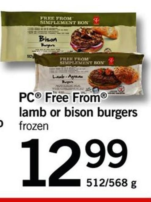 PC Free From Lamb Or Bison Burgers