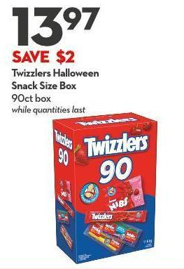 Twizzlers Halloween Snack Size Box 90ct Box While Quantities Last