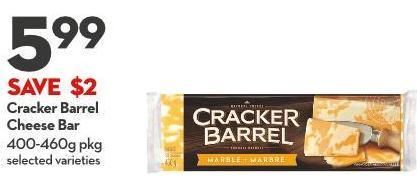 Cracker Barrel  Cheese Bar 400-460g Pkg