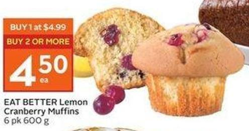 Eat Better Lemon Cranberry Muffins 6 Pk 600 g