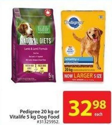 Pedigree 20 Kg or Vitalife 5 Kg Dog Food