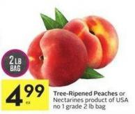Tree-ripened Peaches or Nectarines Product of USA No 1 Grade 2 Lb Bag