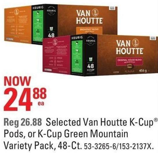 Selected Van Houtte K-cup Pods - or K-cup Green Mountain Variety Pack - 48-ct