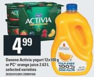 Danone Activia Yogurt 12x100 g Or PC Orange Juice 2.63 L