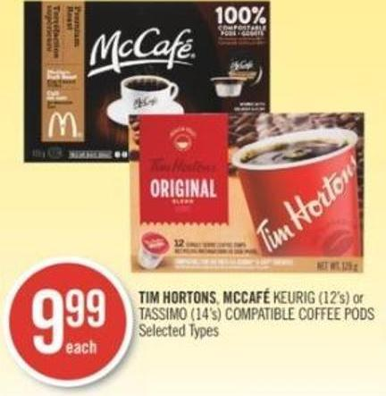 Tim Hortons - Mccafé Keurig (12's) or Tassimo (14's) Compatible Coffee PODS