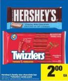 Hershey's Family Size Chocolate Bar - 100/120 g or Twizzlers Candy Pack - 300-454 g