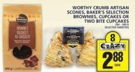 Worthy Crumb Artisan Scones - Baker's Selection Brownies - Cupcakes Or Two Bite Cupcakes