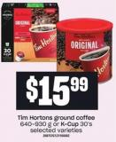 Tim Hortons Ground Coffee - 640-930 G Or K-cup - 30's