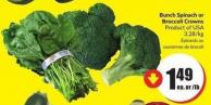 Bunch Spinach or Broccoli Crowns