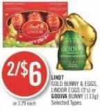 Lindt Gold Bunny & Eggs - Lindor Eggs (3's) or Godiva Bunny (113g)