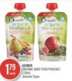 Gerber Organic Baby Food Pouches 128ml