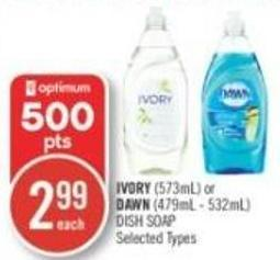 Ivory (573ml) or Dawn (479ml - 532ml) Dish Soap