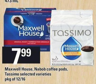 Maxwell House - Nabob Coffee PODS - Tassimo - Pkg of 12/16