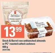 Stock & Barrel Raw Unblanched Almonds Or PC Roasted Salted Cashews 400 G
