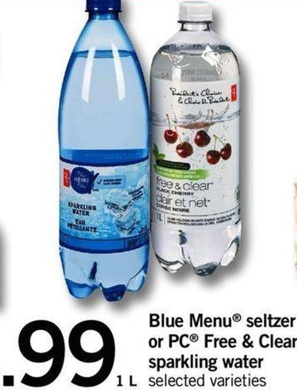Blue Menu Seltzer Or PC Free & Clear Sparkling Water - 1 L