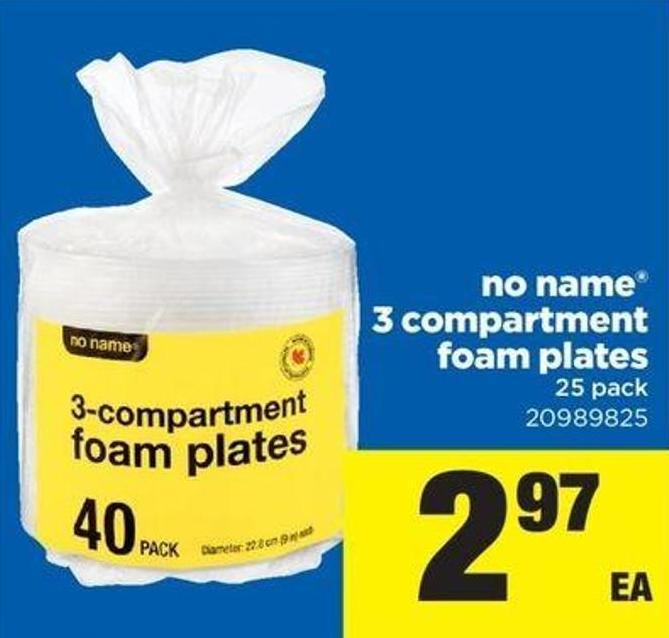 No Name 3 Compartment Foam Plates - 25 Pack
