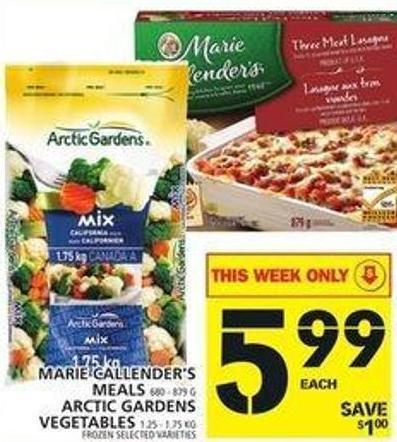 Marie Callender's Meals Or Arctic Gardens Vegetables