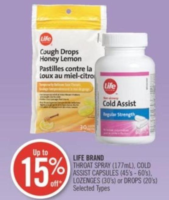 Life Brand Throat Spray (177ml) - Cold Assist Capsules (45's - 60's) - Lozenges (30's) or Drops (20's)