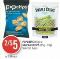 Popchips (85g) or Snapea Crisps (85g - 93g)
