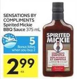 Sensations By Compliments Spirited Mickie Bbq Sauce - 5 Air Miles