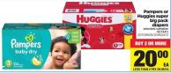 Pampers Or Huggies Super Big Pack Diapers - 42-124's