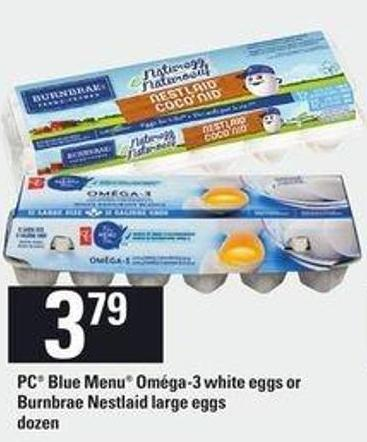 PC Blue Menu Oméga-3 White Eggs Or Burnbrae Nestlaid Large Eggs