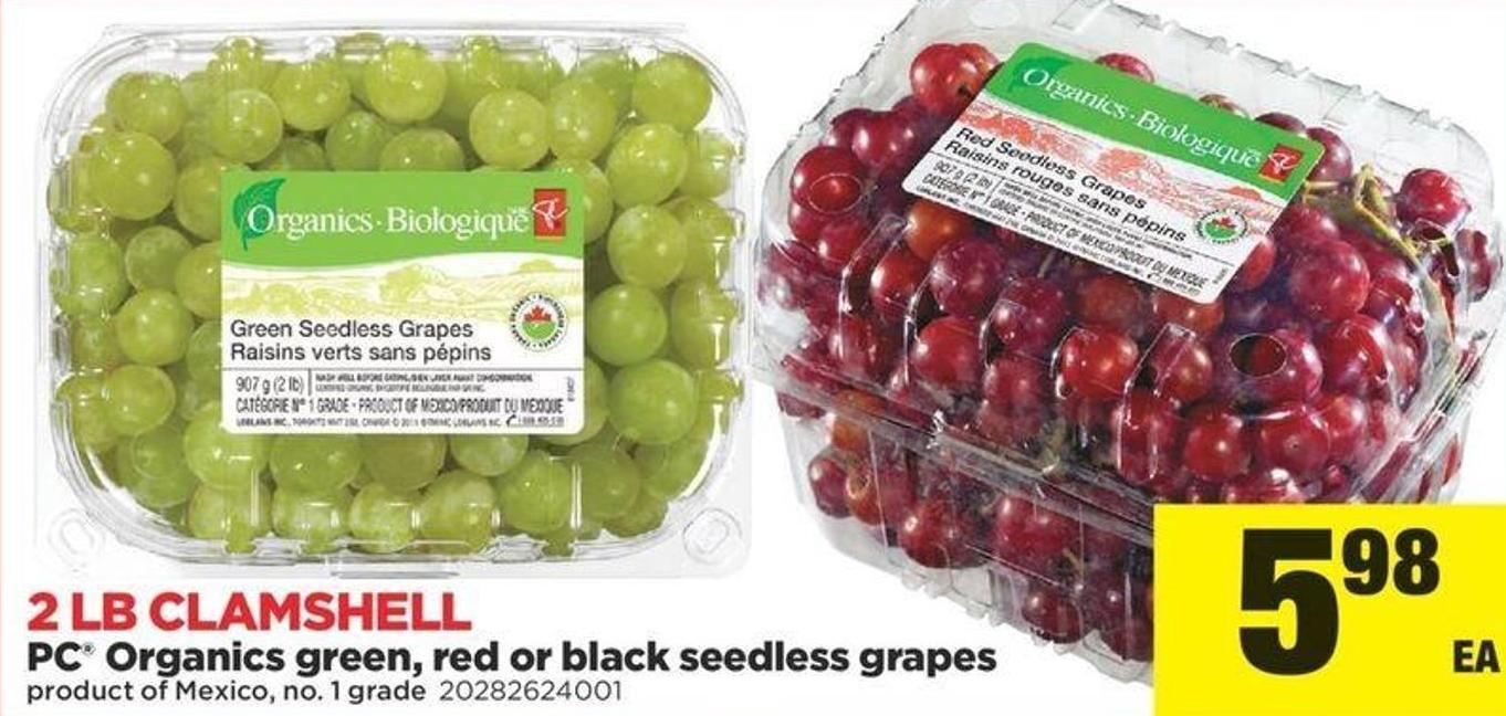 PC Organics Green - Red Or Black Seedless Grapes - 2 Lb Clamshell