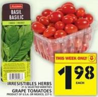Irresistibles Herbs Or Grape Tomatoes