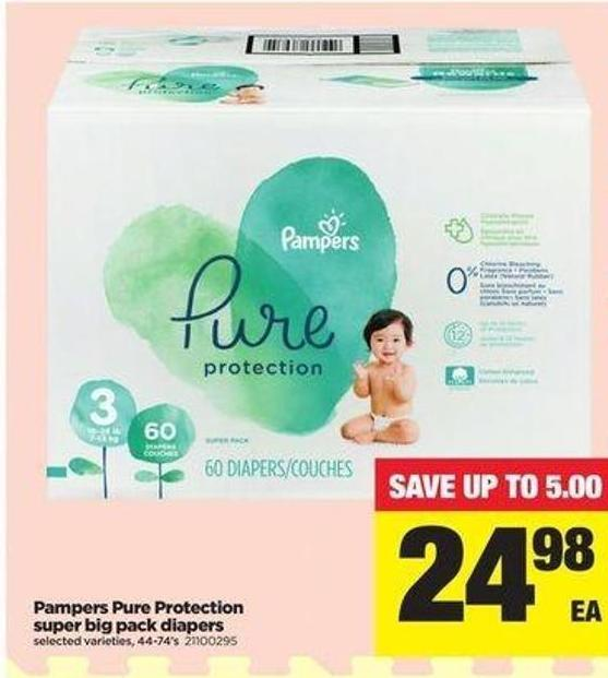 Pampers Pure Protection Super Big Pack Diapers - 44-74's