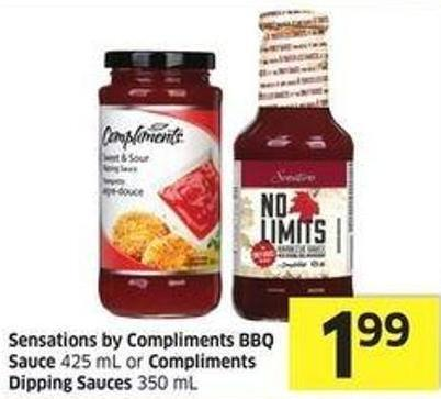 Sensations By Compliments Bbq Sauce 425 mL or Compliments Dipping Sauces 350 mL