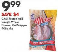 Casii Frozen Wild Caught Whole Dressed Red Snapper 908g Pkg