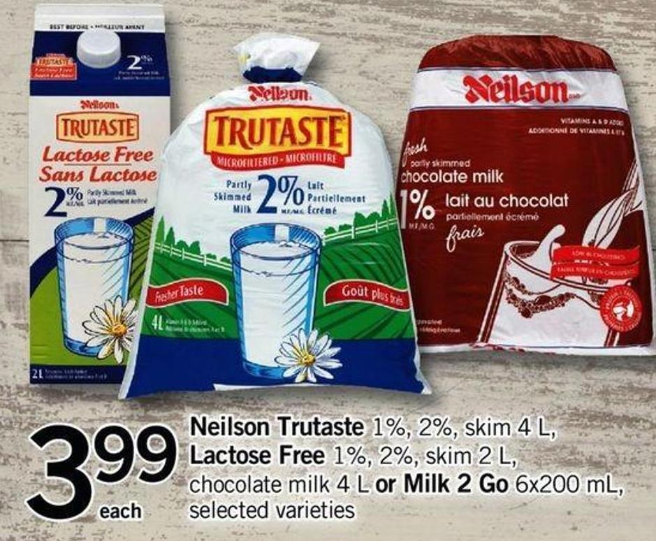 Neilson Trutaste 1% - 2% - Skim 4 L - Lactose Free 1% - 2% - Skim 2 L - Chocolate Milk - 4 L Or Milk - 2 Go 6x200 Ml