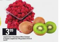 Organic Kiwi - 1 Lb Product Of New Zealand Or Organic Raspberries - 170 G