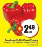 Greenhouse Red Bell Sweet Peppers Product of Canada or Mexico 5.49/kg