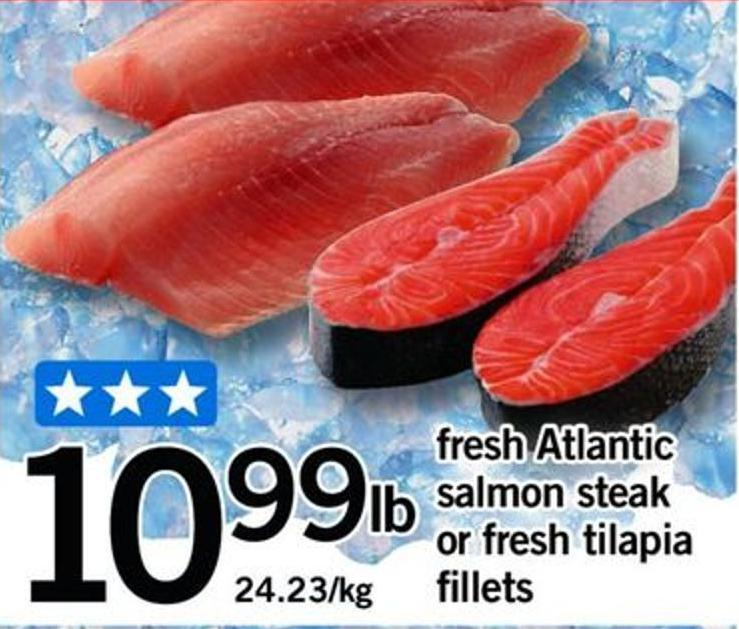 Fresh Atlantic Salmon Steak Or Fresh Tilapia Fillets