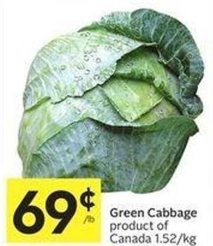 Green Cabbage Product of Canada 1.52/kg