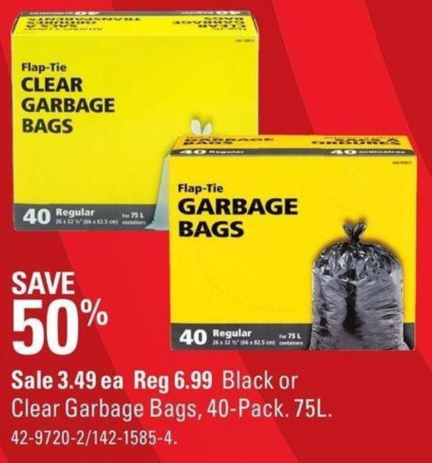 Black or Clear Garbage Bags - 40-pack