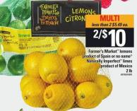 Farmer's Market Lemons Or No Name Naturally Imperfect Limes - 2 Lb