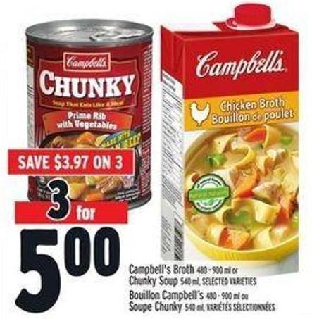 Campbell's Broth 480 - 900 ml or Chunky Soup 540 ml