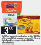 Old El Paso Taco Shells - Taco Bowls Or Tortillas - 125-334 G Refried Beans - 398 Ml - Taco Sauce - Peppers - 127-250 Ml Or Uncle Ben's Bistro Express Side Dish - 240/250 G