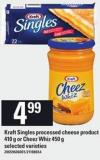 Kraft Singles Processed Cheese Product - 410 G Or Cheez Whiz - 450 G