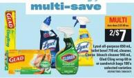 Lysol All-purpose 650 Ml - Toilet Bowl - 710 Ml Cleaner - Clorox Bleach Cleaner - 946 Ml - Glad Cling Wrap - 60 M Or Sandwich Bags - 100's