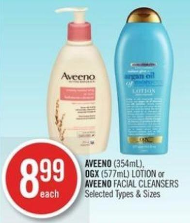 Aveeno (354ml) - Ogx (577ml) Lotion or Aveeno Facial Cleansers