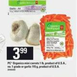 PC Organics Mini Carrots - 1 Lb Or Garlic - 115 g