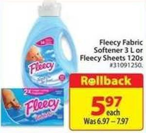 Fleecy Fabric Softener 3 L Or Fleecy Sheets 120s